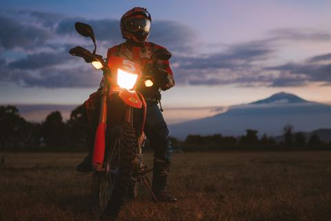 motorcycle tour to Africa Tanzania biker kilimanjaro sunset